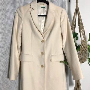 Benetton white long wool coat